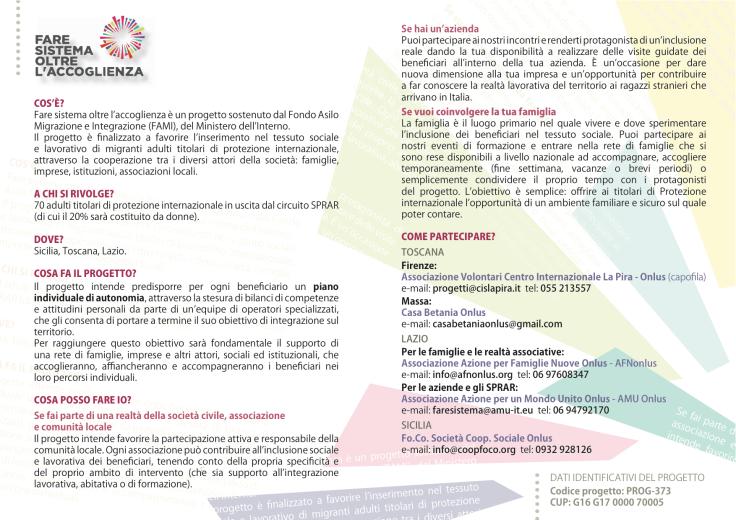 Brochure progetto Fare sistema 2